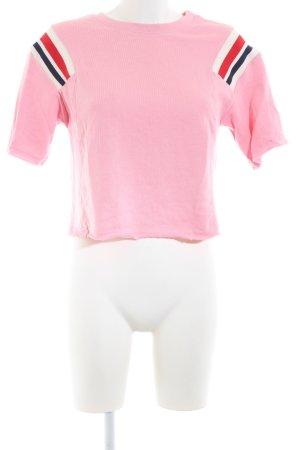 Bershka Cropped Shirt pink-rot Streifenmuster Casual-Look