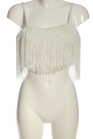 Bershka Top recortado blanco elegante