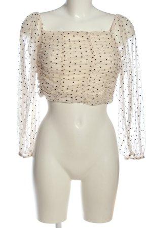 Bershka Cropped Top cream-black spot pattern casual look