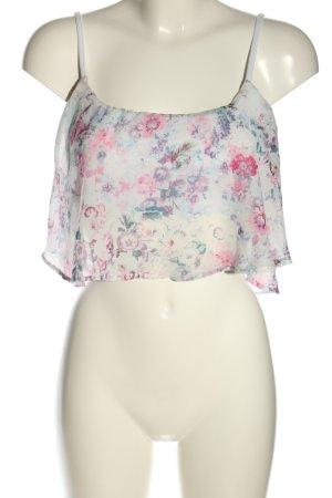 Bershka Cropped top wit-roze volledige print casual uitstraling