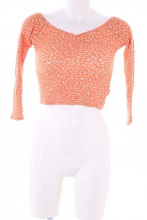 Bershka Cropped top licht Oranje-wit abstract patroon casual uitstraling
