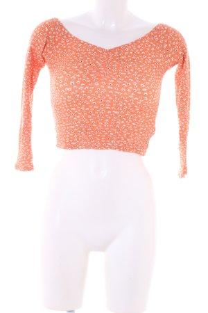 Bershka Cropped Top hellorange-weiß abstraktes Muster Casual-Look