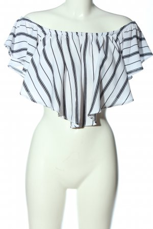Bershka Cropped Top weiß-schwarz Allover-Druck Casual-Look