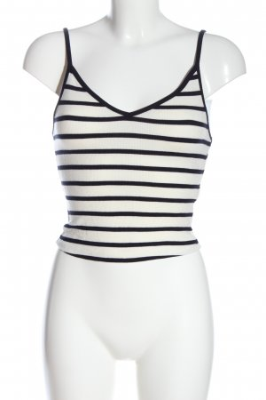 Bershka Cropped Top weiß-schwarz Streifenmuster Casual-Look