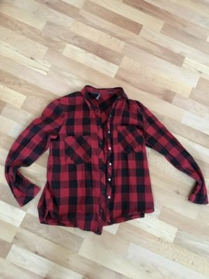 Bershka Flannel Shirt dark red-black cotton