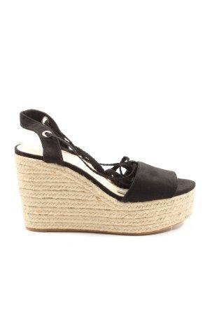 Bershka Wedges Sandaletten schwarz Casual-Look