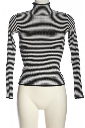 Bershka Feinstrickpullover schwarz-weiß Streifenmuster Casual-Look