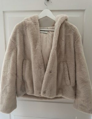 Bershka Fake Fur Jacket beige