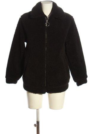Bershka Futrzana kurtka czarny W stylu casual