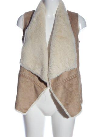 Bershka Fur vest brown-white casual look