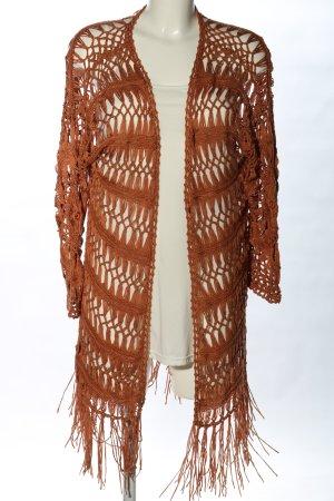 Bershka Coarse Knitted Jacket brown weave pattern elegant