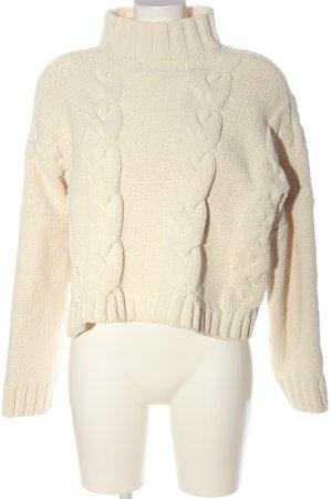 Bershka Jersey trenzado blanco puro punto trenzado look casual
