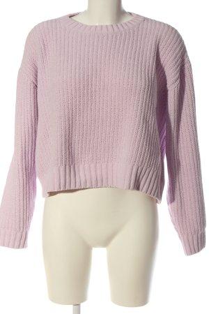 Bershka Häkelpullover pink Zopfmuster Casual-Look