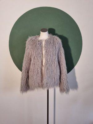 Bershka Fake Fur Jacket light grey-grey