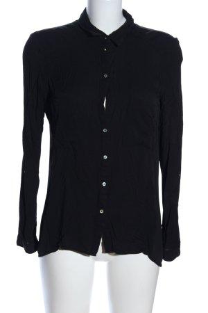 Bershka Hemd-Bluse schwarz Business-Look