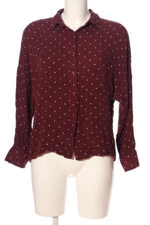 Bershka Hemd-Bluse rot-weiß Punktemuster Casual-Look