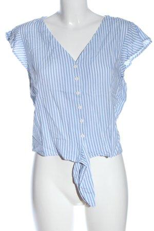 Bershka Hemd-Bluse blau-weiß Allover-Druck Casual-Look