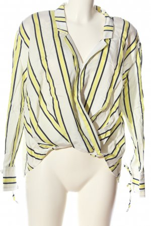 Bershka Hemd-Bluse weiß-blassgelb Streifenmuster Business-Look