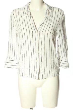 Bershka Hemd-Bluse weiß-schwarz Allover-Druck Business-Look