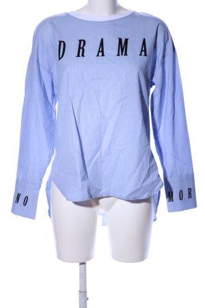 Bershka Hemd-Bluse blau-schwarz Schriftzug gedruckt Casual-Look