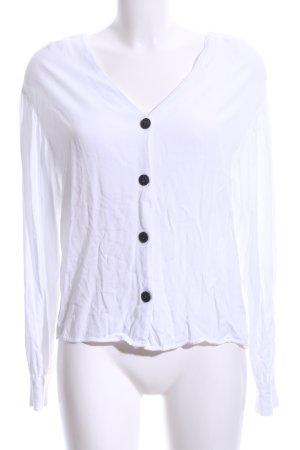 Bershka Hemd-Bluse weiß Business-Look