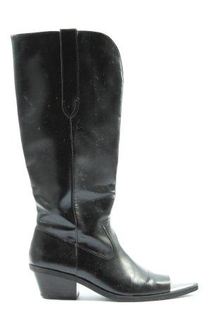 Bershka Wysokie buty na obcasie czarny-srebrny W stylu casual