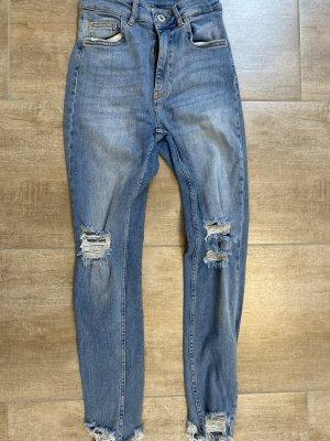 Bershka high rise ripped jeans