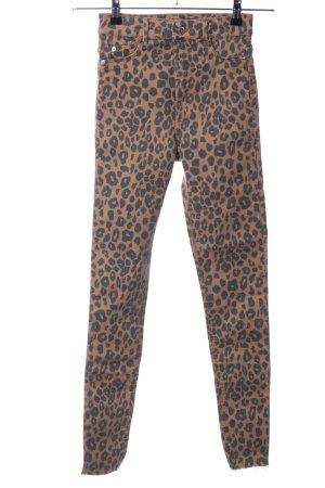 Bershka Hoge taille jeans bruin-zwart dierenprint casual uitstraling