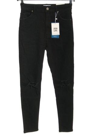 Bershka Jeansy z wysokim stanem czarny W stylu casual