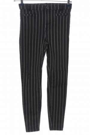 Bershka High Waist Jeans black-white striped pattern casual look