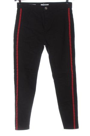 Bershka Spodnie z wysokim stanem czarny-czerwony W stylu casual