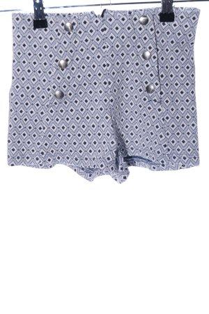 Bershka High-Waist-Shorts blau-weiß Allover-Druck Casual-Look