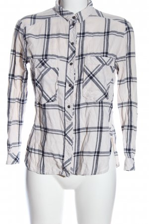 Bershka Holzfällerhemd weiß-schwarz Karomuster Casual-Look