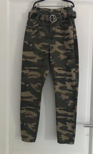 Bershka Hoge taille jeans donkergroen-lichtgroen