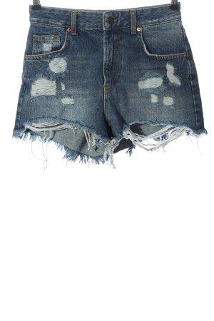 Bershka Hot Pants blau Casual-Look