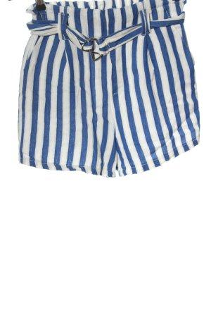 Bershka Hot Pants weiß-blau Streifenmuster Casual-Look
