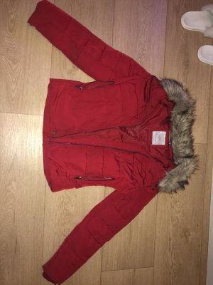 Bershka Fake Fur Jacket red
