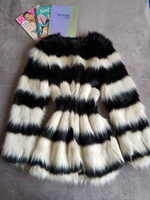 Bershka Giacca in pelliccia bianco-nero