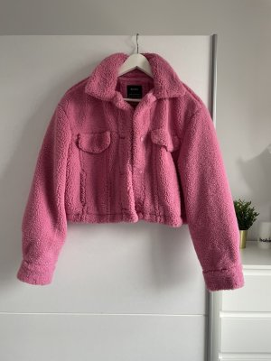 Bershka Fake Fur Jacket raspberry-red
