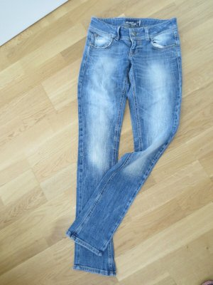 Bershka pantalón de cintura baja azul acero