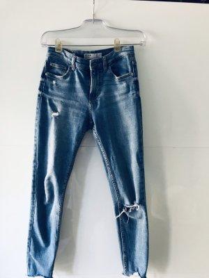 Bershka Tube jeans staalblauw Katoen