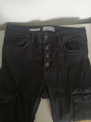 Bershka Jeans, schwarze Hose, high rise, high waisted, super skinny, vintage