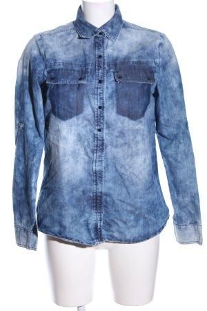 Bershka Jeanshemd blau-weiß Casual-Look