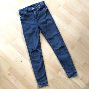 Bershka Jeanshose Gr  36 high waist Jeans Hose schwarz Stretch