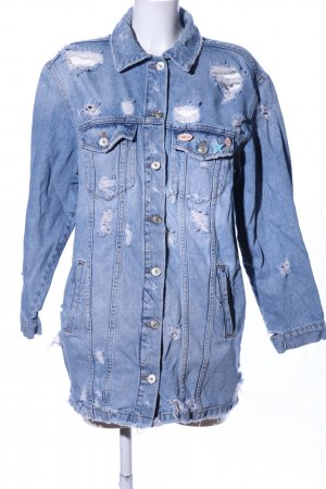 Bershka Jeansjacke blau Blumenmuster extravaganter Stil