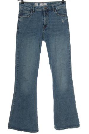 Bershka Jeansowe spodnie dzwony niebieski W stylu casual