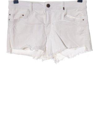 Bershka Pantalón corto de tela vaquera blanco look casual