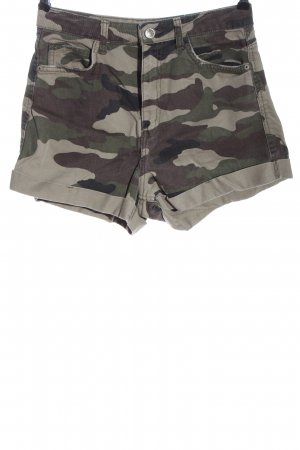 Bershka Denim Shorts khaki-light grey camouflage pattern casual look