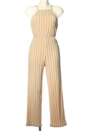 Bershka Jumpsuit creme-braun Streifenmuster Casual-Look