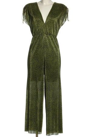 Bershka Jumpsuit grün-schwarz Animalmuster Casual-Look